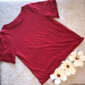 LOFT Ann Taylor Red Shirt Medium Fringe Sleeves